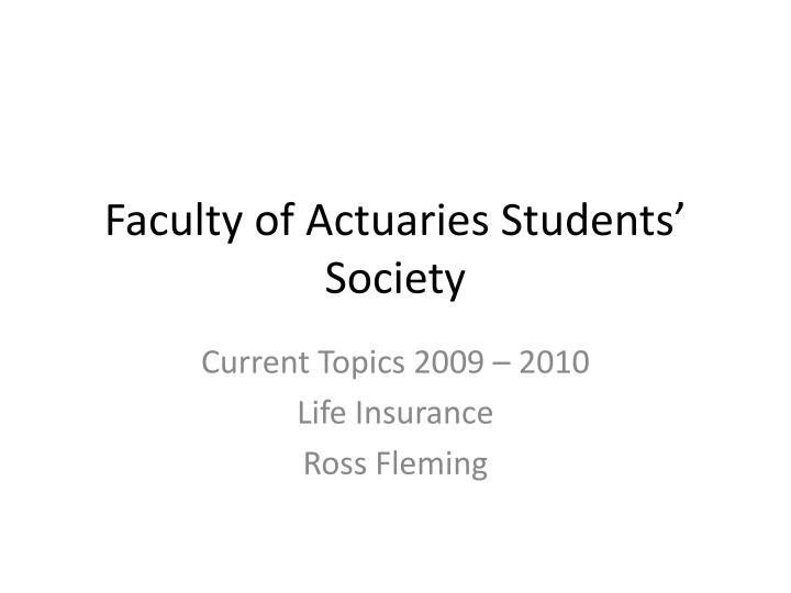 faculty of actuaries students society n.