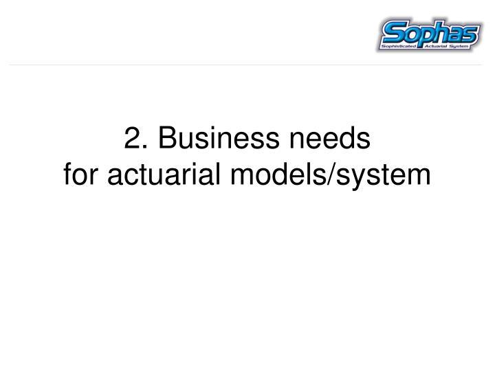 2. Business needs