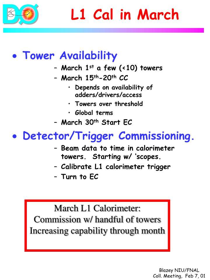 L1 Cal in March