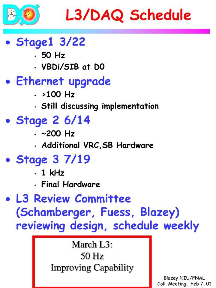 L3/DAQ Schedule