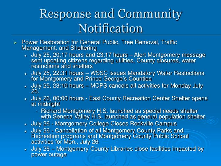 Response and Community Notification