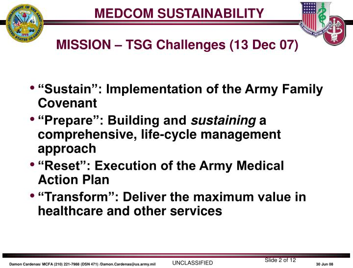 Medcom sustainability mission tsg challenges 13 dec 07