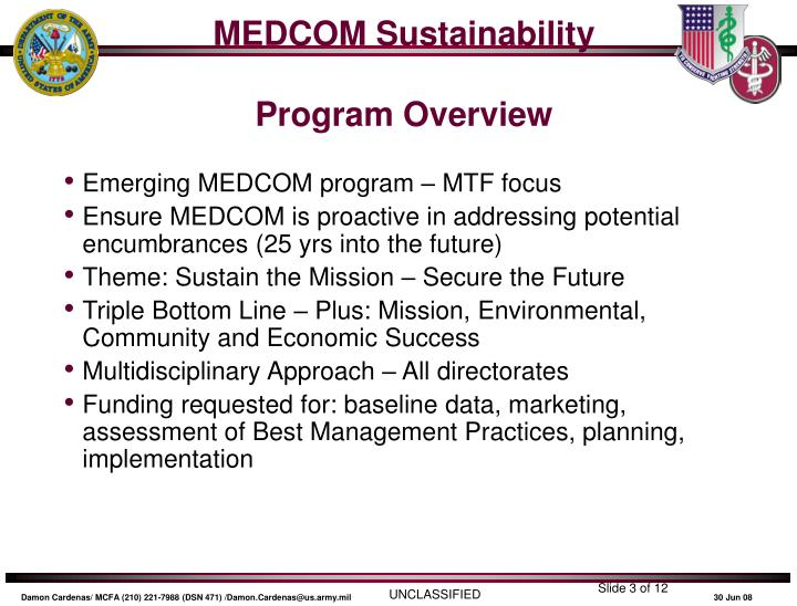 Medcom sustainability program overview