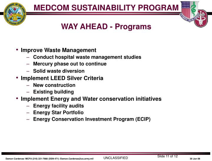 MEDCOM SUSTAINABILITY PROGRAM