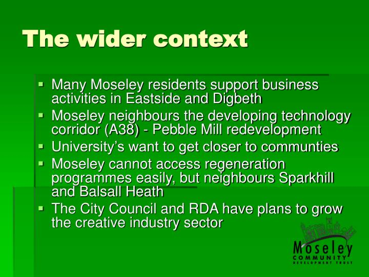 The wider context