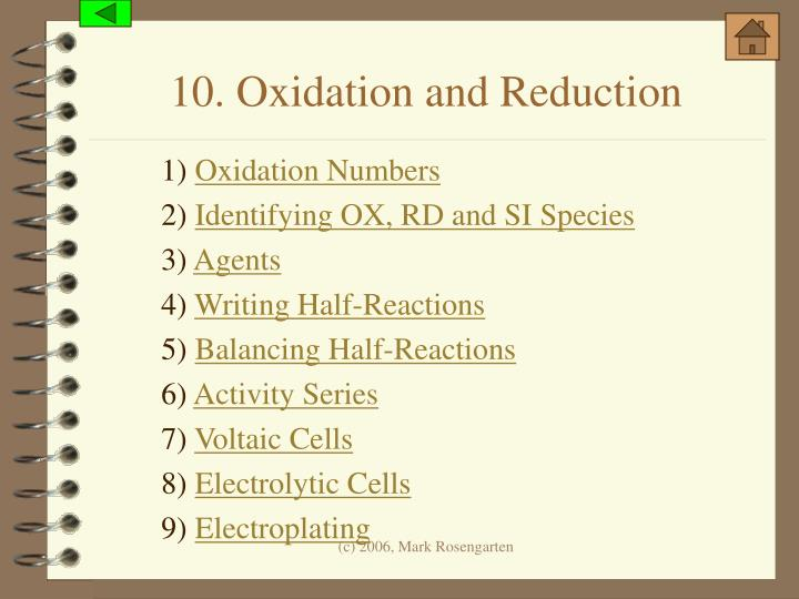 10. Oxidation and Reduction