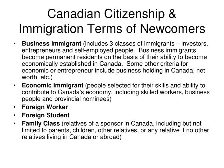 Canadian Citizenship & Immigration Terms of Newcomers