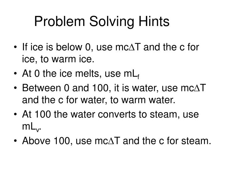 Problem Solving Hints