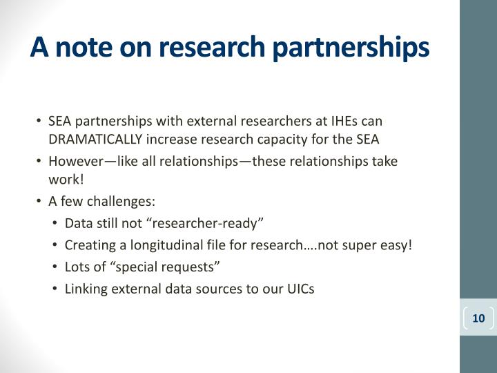 A note on research partnerships