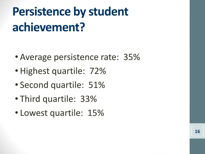 Persistence by student achievement?
