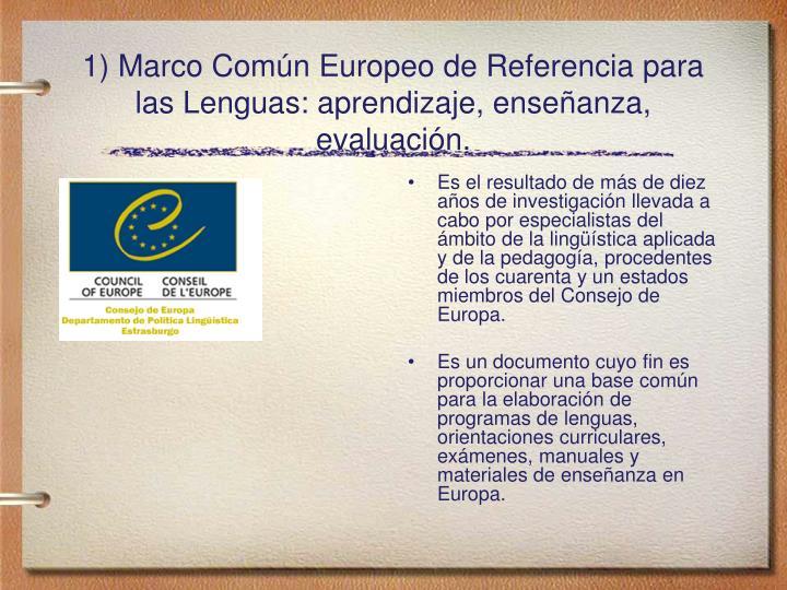 Es el resultado de más de diez años de investigación llevada a cabo por especialistas del ámbito de la lingüística aplicada y de la pedagogía, procedentes de los cuarenta y un estados miembros del Consejo de Europa.