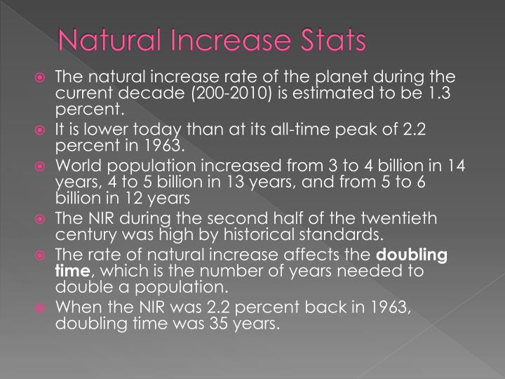 Natural Increase Stats