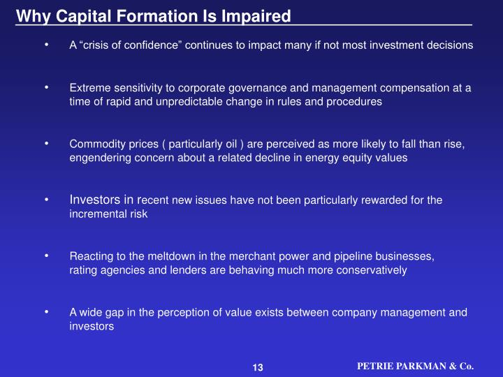 Why Capital Formation Is Impaired