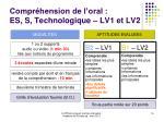 compr hension de l oral es s technologique lv1 et lv2