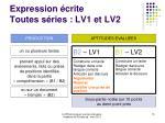 expression crite toutes s ries lv1 et lv2