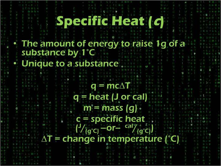 Specific Heat (