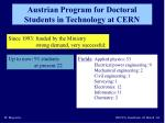 austrian program for doctoral students in technology at cern