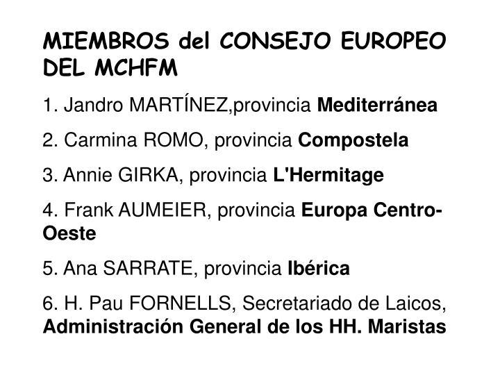 MIEMBROS del CONSEJO EUROPEO DEL MCHFM