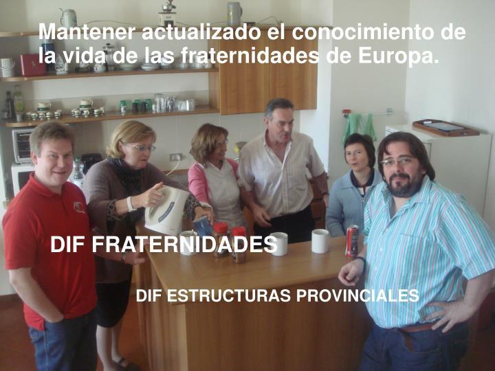 Mantener actualizado el conocimiento de la vida de las fraternidades de Europa.