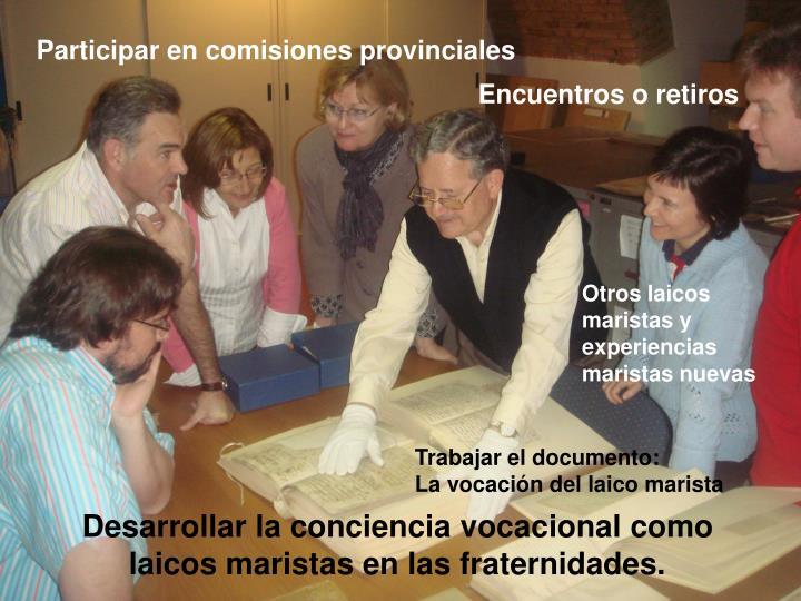 Participar en comisiones provinciales