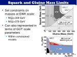 squark and gluino mass limits