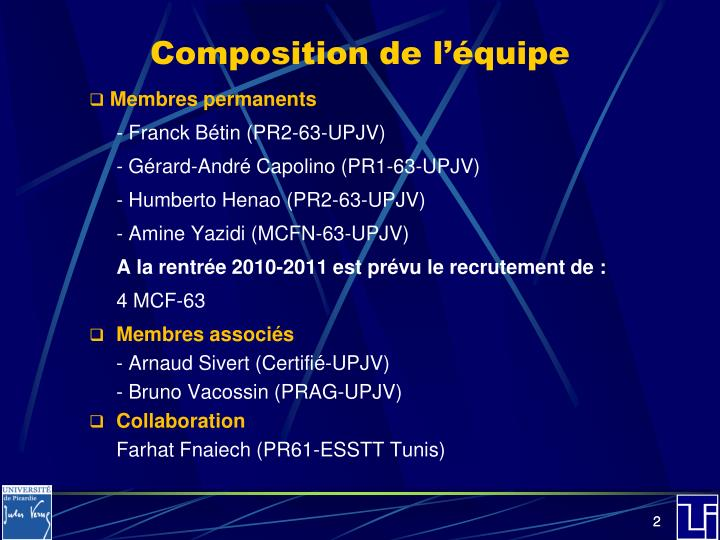 Composition de l quipe