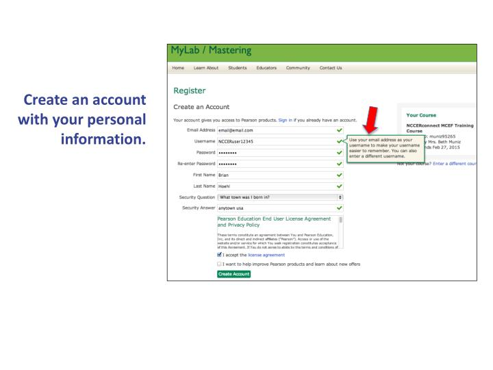 Create an account with your personal information.