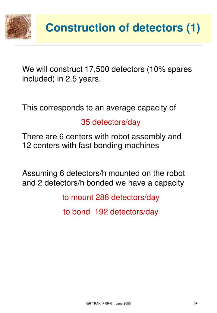 Construction of detectors (1)