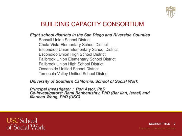 BUILDING CAPACITY CONSORTIUM