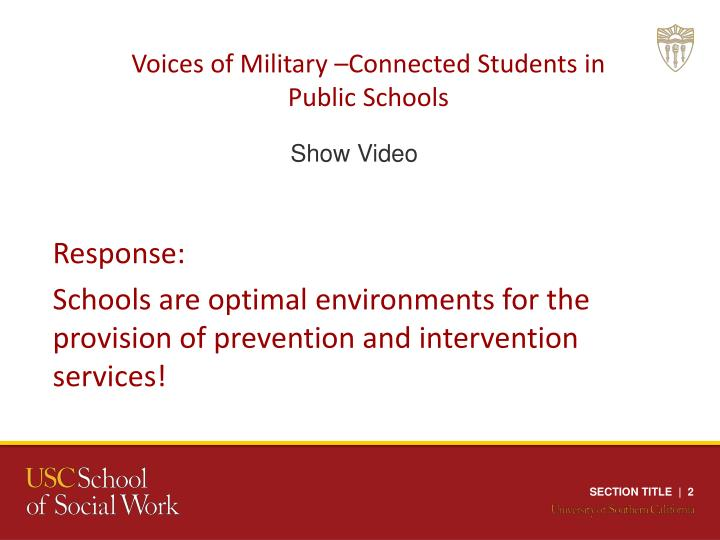 Voices of Military –Connected Students in Public Schools