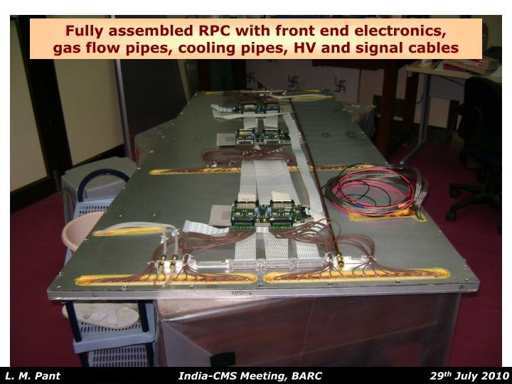 Fully assembled RPC with front end electronics,