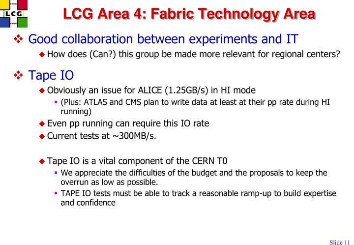 LCG Area 4: Fabric Technology Area