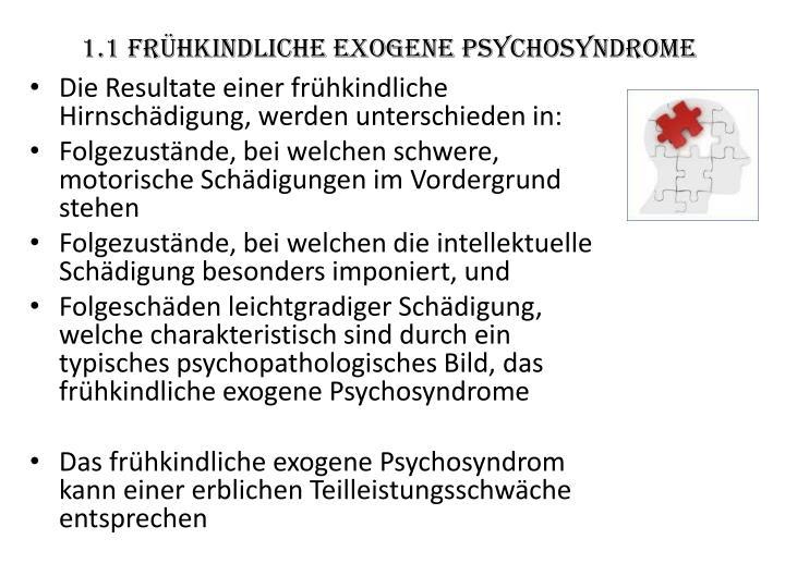 1.1 frühkindliche exogene Psychosyndrome