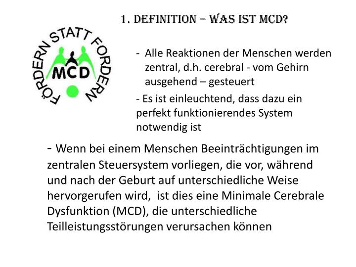 1 definition was ist mcd