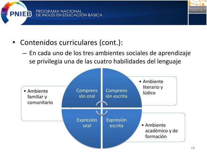 Contenidos curriculares (cont.):