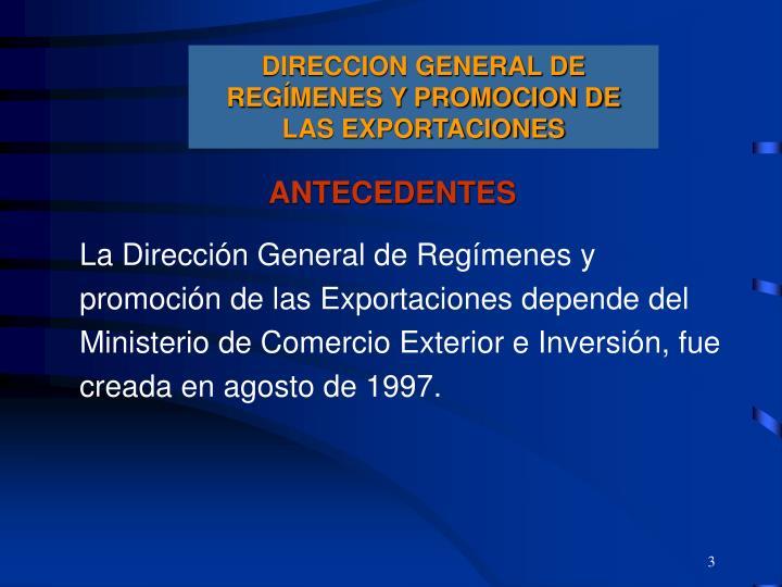 DIRECCION GENERAL DE REGÍMENES Y PROMOCION DE LAS EXPORTACIONES