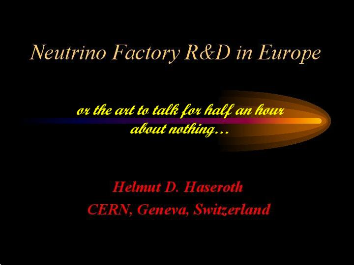 Neutrino factory r d in europe