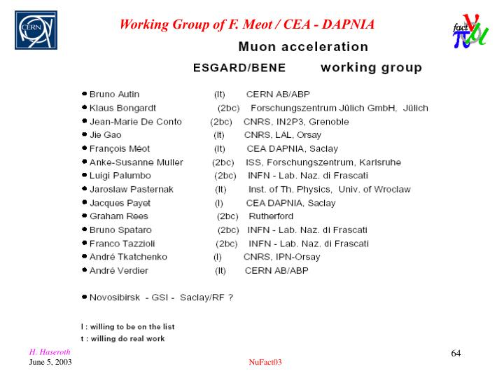Working Group of F. Meot / CEA - DAPNIA