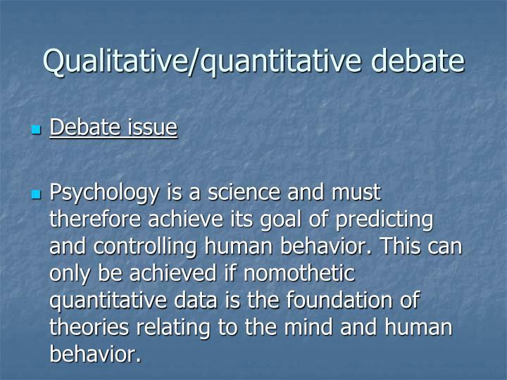 Qualitative/quantitative debate