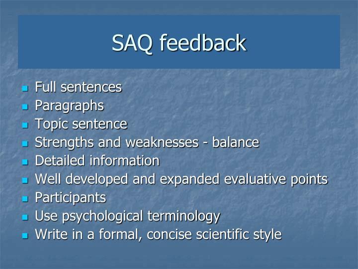 SAQ feedback