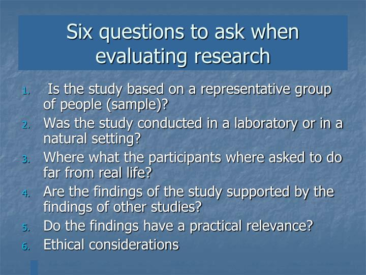 Six questions to ask when evaluating research