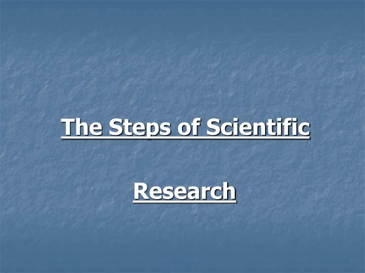 The Steps of Scientific