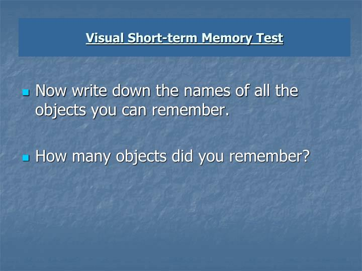 Visual Short-term Memory Test