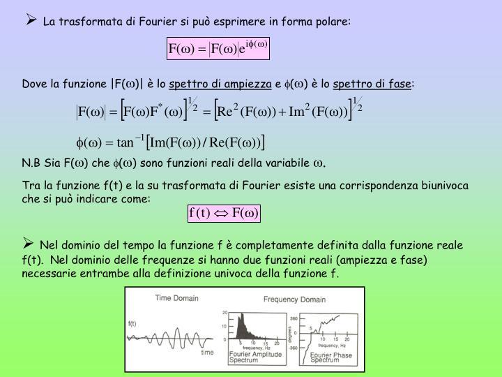 La trasformata di Fourier si può esprimere in forma polare: