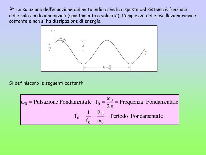 La soluzione dell'equazione del moto indica che la risposta del sistema è funzione delle sole condizioni iniziali (spostamento e velocità). L'ampiezza delle oscillazioni rimane costante e non si ha dissipazione di energia.