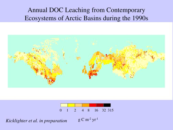 Annual DOC Leaching from Contemporary Ecosystems of Arctic Basins during the 1990s