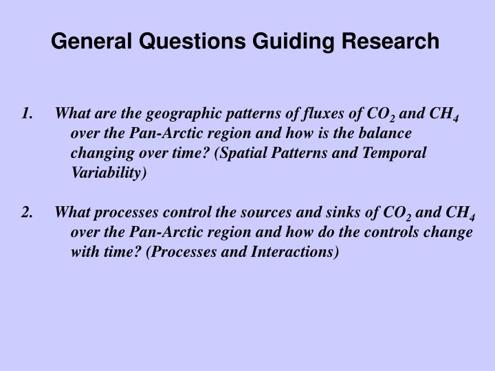 General Questions Guiding Research