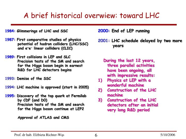 A brief historical overwiew: toward LHC