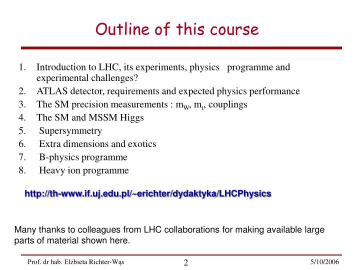 Outline of this course