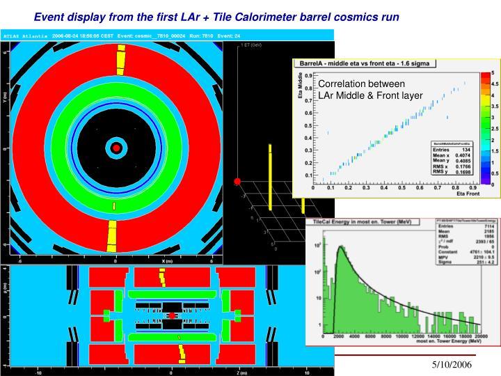 Event display from the first LAr + Tile Calorimeter barrel cosmics run